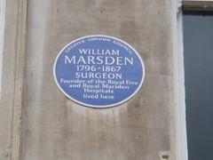 Photo of William Marsden blue plaque