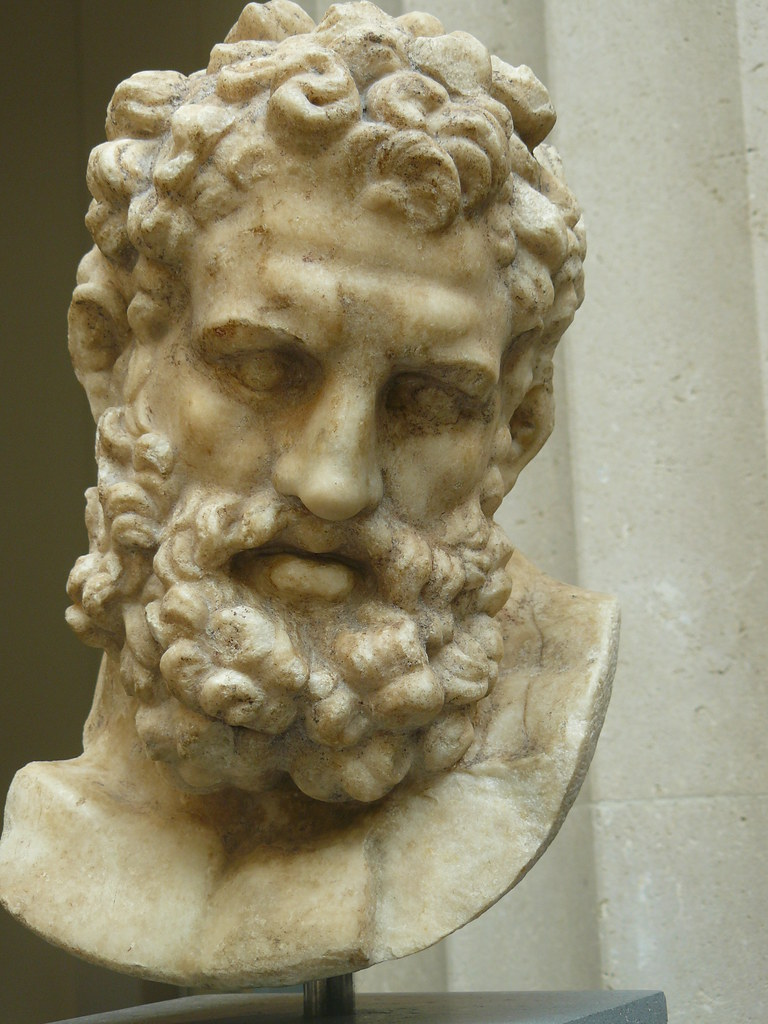 marble head of herakles exhausted after completion of the