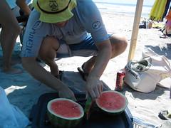 splitting a watermelon
