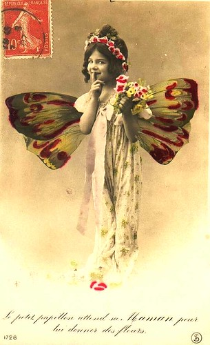 Vintage Postcard ~ Butterfly Girl