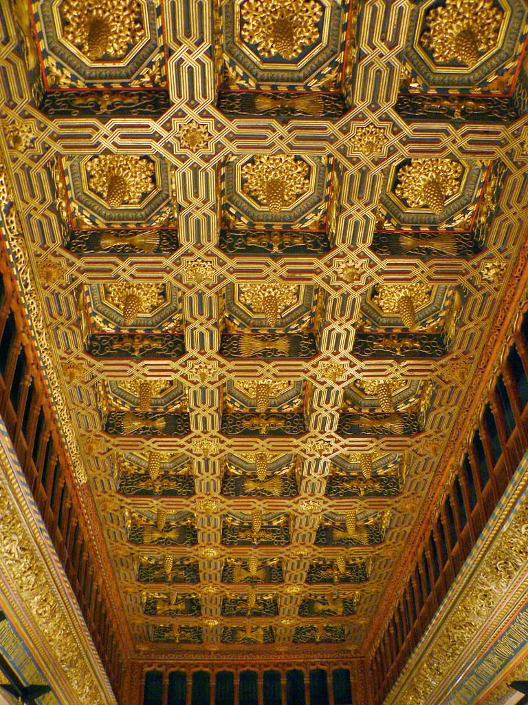 Ornate ceiling, with Aljaferia