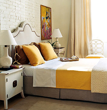 White and yellow bedroom: Domino magazine