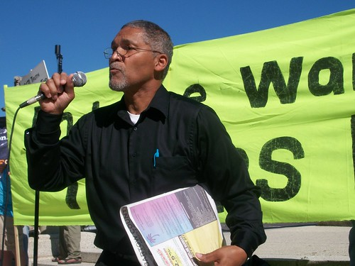 Bruce Dixon of the Black Agenda Report from Atlanta addressed the continuing imperialist wars under the current administration of President Barack Obama. Dixon was at the Anti-War demonstration in Chicago on October 16, 2010. (Photo: Abayomi Azikiwe) by Pan-African News Wire File Photos