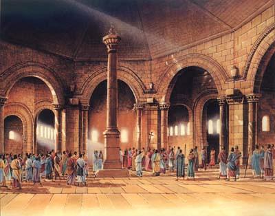 Dibujo de San Simeon subido en una columna