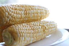 dish(0.0), sweet corn(1.0), maize(1.0), corn on the cob(1.0), produce(1.0), food(1.0), corn on the cob(1.0), cuisine(1.0),