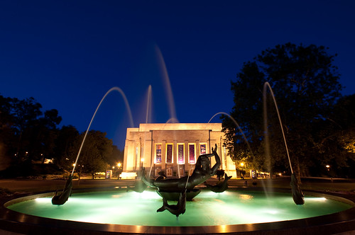 blue water fountain night lights indiana bloomington indianauniversity auditorium