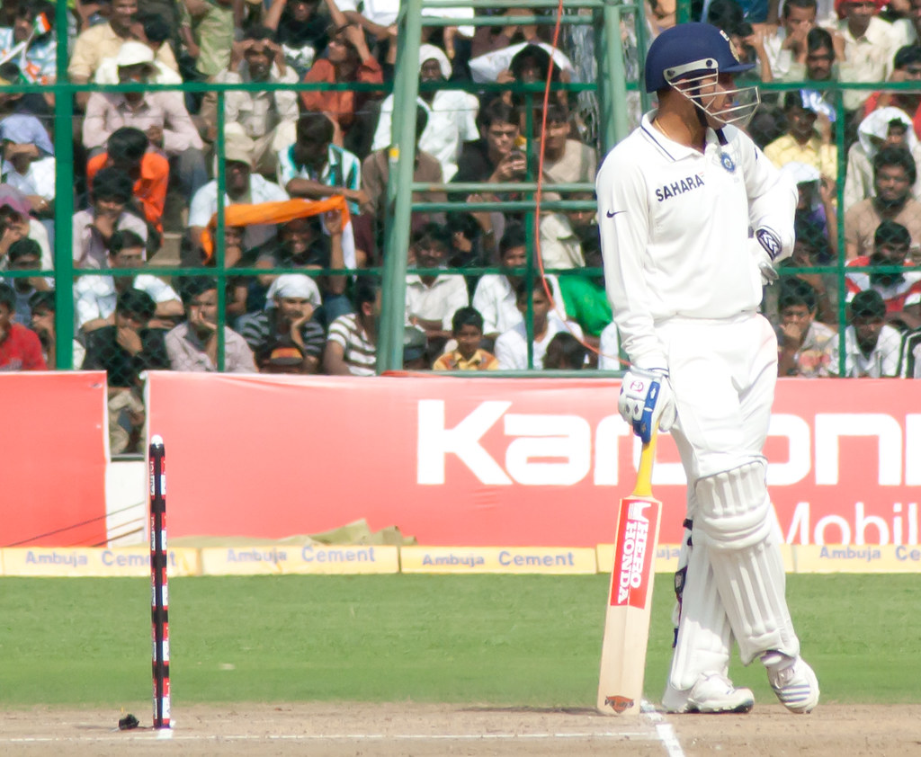 Sehwag waits at the bowler's end
