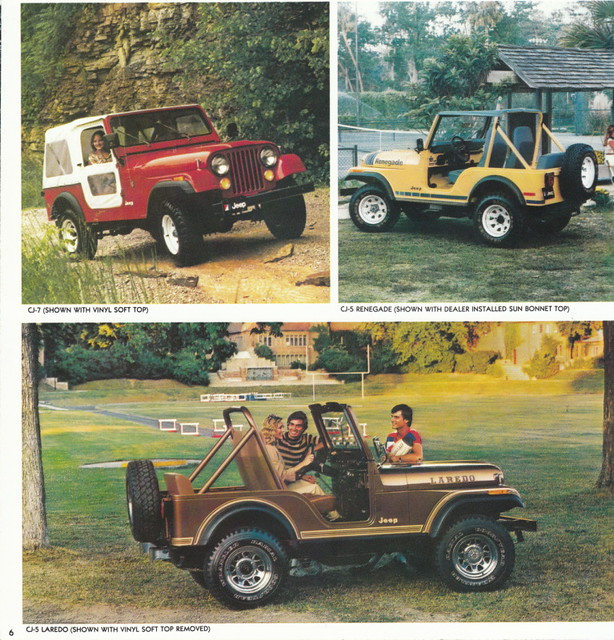1980 Jeep CJ-7, CJ-5 Renegade, and CJ-5 Laredo