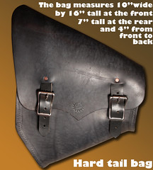 black hardtail bag measure text