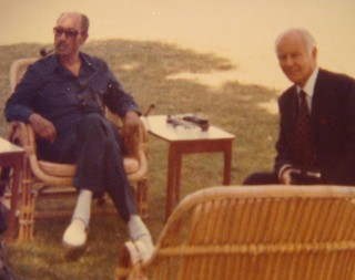 Albert Lisbona with President Anwar Sadat, Ismailiya 1979