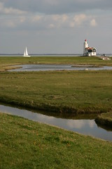 estuary(0.0), sea(0.0), loch(0.0), bay(0.0), wind(0.0), mudflat(0.0), shore(0.0), coast(0.0), wetland(1.0), prairie(1.0), horizon(1.0), polder(1.0), grass(1.0), water(1.0), plain(1.0), lighthouse(1.0), natural environment(1.0), reflection(1.0), salt marsh(1.0), tower(1.0), rural area(1.0), waterway(1.0),