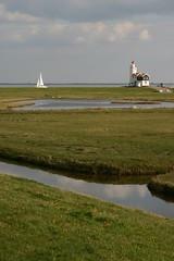wetland, prairie, horizon, polder, grass, water, plain, lighthouse, natural environment, reflection, salt marsh, tower, rural area, waterway,
