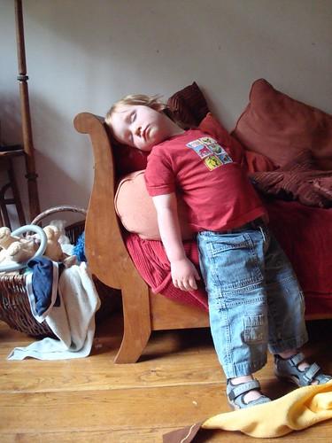 Dylan asleep on his feet