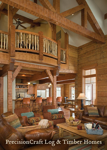 Custom Design Timber Frame Home and Log Home hybrid | Tamarack Resort Idaho | by PrecisionCraft Log Homes & Timber Homes