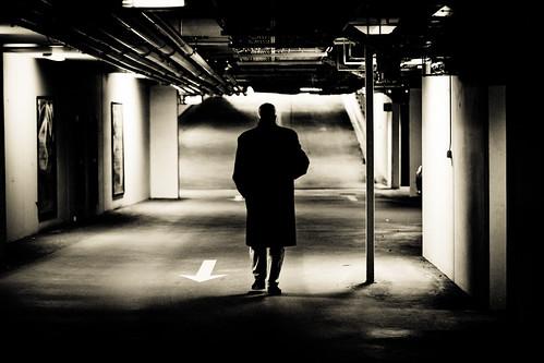bw man underground walking person blackwhite back europe parkinggarage sweden technical sverige behind scandinavia malmohus zweden fav10 malmö canoneos5dmarkii ef100mmf28lmacroisusm