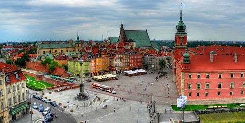 Panoramic view over the Old City in Warsaw (stare miasto)
