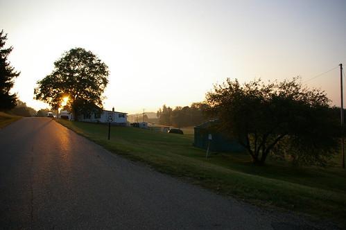 ohio fog rural america dawn driving cumberlandroad nationalroad route40 nationalpike