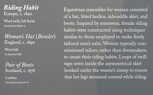 English Riding Habit, c. 1890 - label - Fashioning Fashion - LACMA