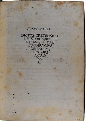Title-page of Dictys Cretensis [pseudo-]: Historia Troiana