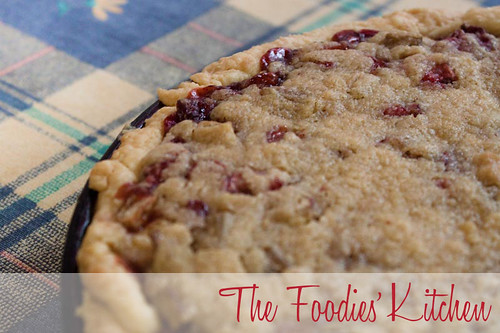 Rhubarb and Strawberry Crumble Pie