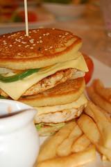 produce(0.0), breakfast sandwich(0.0), meal(1.0), breakfast(1.0), junk food(1.0), brunch(1.0), food(1.0), dish(1.0), cuisine(1.0), pancake(1.0),