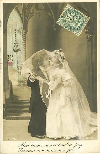 Vintage Postcard ~ Little Bride & Groom