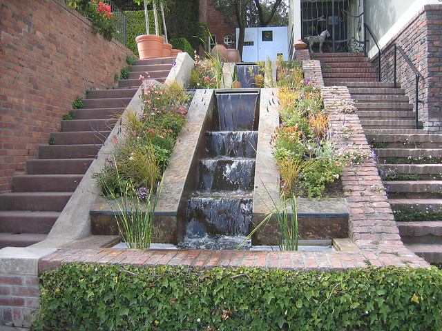 Home Water Fall Stairs : Waterfall Stairway  This home in Pacific Heights has a wate ...