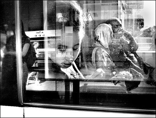 Reflections in Tram Window. ...