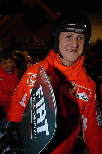 Michael Schumacher with snowboard