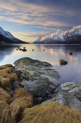 sunset snow mountains norway circle landscape rocks arctic fjord tromso tromsø troms ersfjord ersfjordbotn