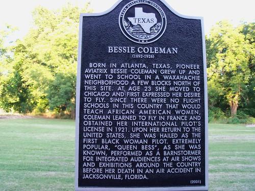 Bessie Coleman, Waxahachie, Texas Historical Marker