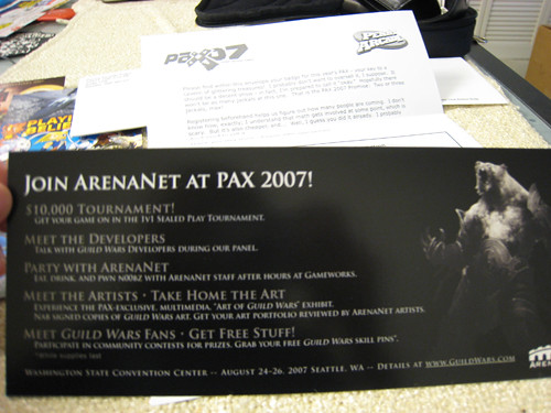 PAX 2007 ArenaNet Flyer - Back