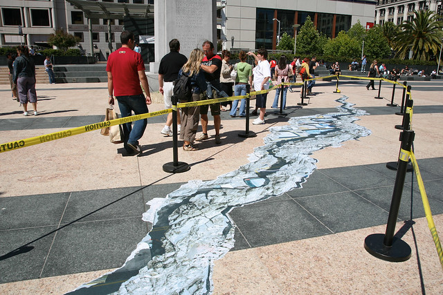 Giant Earthquake Crack Splits San Francisco's Union Square.