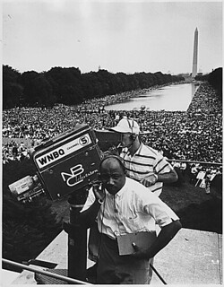 View related image Civil Rights March on Washington, D.C. [WNBQ/National Broadcasting Company television crew (Channel 5) with Washington Monument and crowd in the background.], 08/28/1963.
