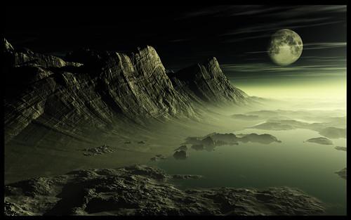 terrain moon mountain night painting landscape vue matte