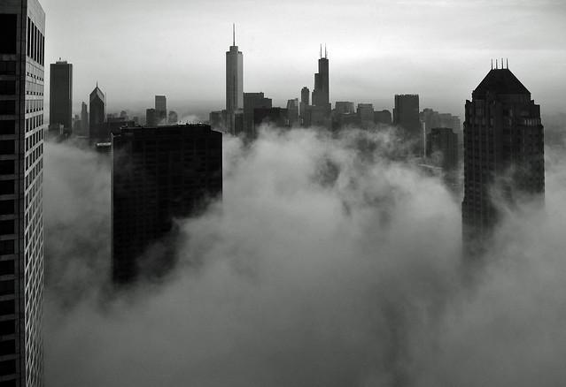 Chicago- Foggy Loop Skyline in B&W