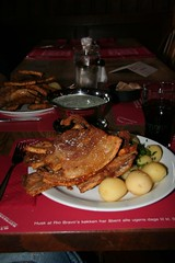 Potatoes and roast pork chop - we were told this is traditional Danish food. I wonder how Danes are so thin (Copenhagen, Denmark) - July 2007