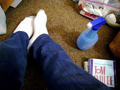high-heeled footwear(0.0), limb(0.0), leg(0.0), human body(0.0), footwear(1.0), shoe(1.0), sock(1.0), blue(1.0),