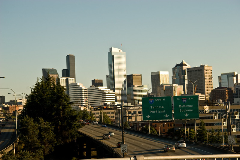 Downtown Seattle from Freeway Fly-Over