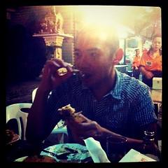 Chinaman eats fish