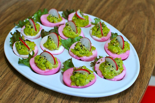 Haunted Eggs | Beet-pickled whites; yolks deviled with groun ...