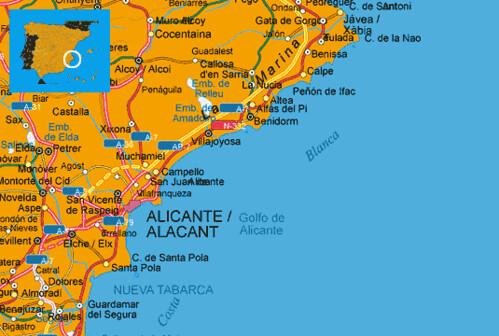 Costa Blanca Beach Map