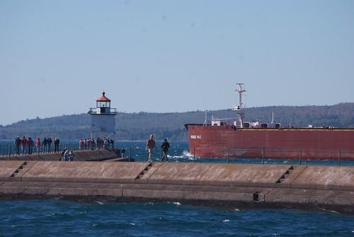 M/V Presque Isle passes the Two Harbors breakwater light.