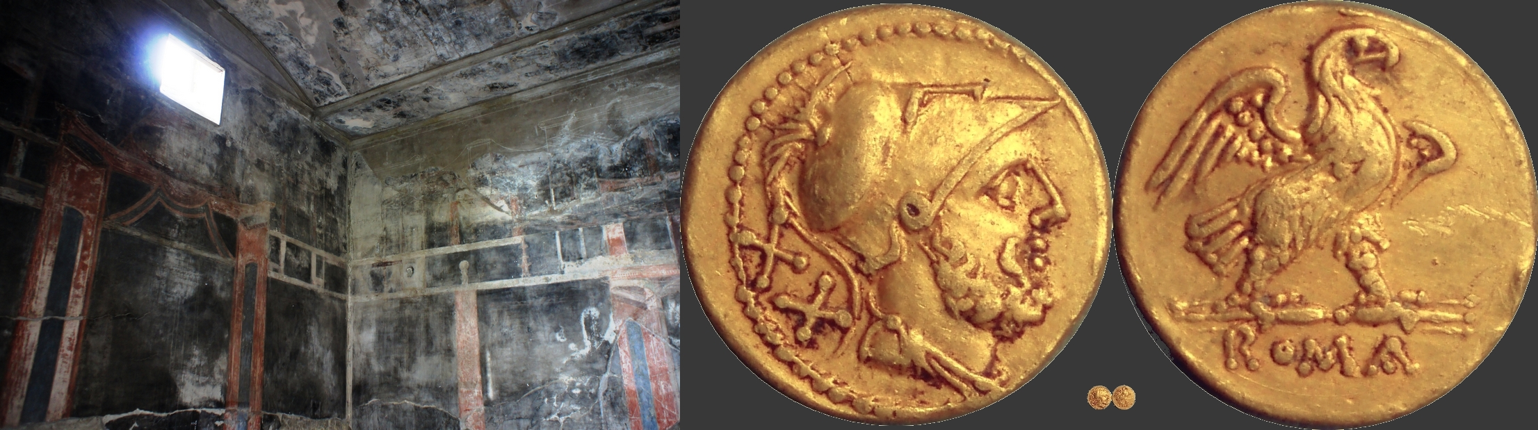 44/4 gold coin with Mars and Eagle of the 2nd Punic War, and ...