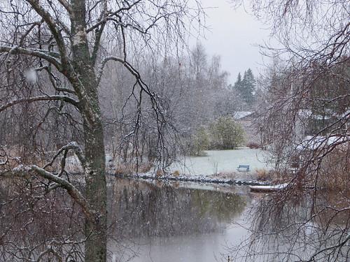 trees lake snow reflection water suomi finland october scenery view branches oulu lumi maisema vesi heijastus puut kuivasjärvi oksat lokaluu vanagram