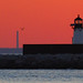 Cleveland east breakwall lighthouse at sunset