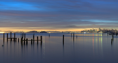 sanfrancisco california city longexposure morning panorama color reflection water skyline clouds sunrise dawn baybridge bayarea sausalito urbanlandscape oldpier anawesomeshot nikond700 artofimages bestcapturesaoi elitegalleryaoi