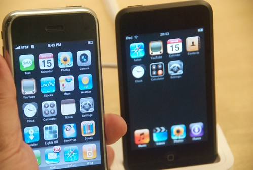 My hacked (for apps) iPhone & an iPod Touch at the Apple Store