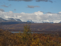 Snowy mountains and glaciers in the distance