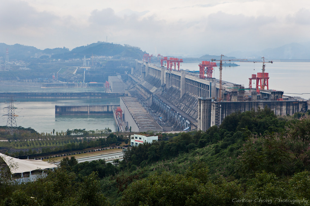 Three Gorges Dam along the Yangtze River, Sandouping, Hubei Province.